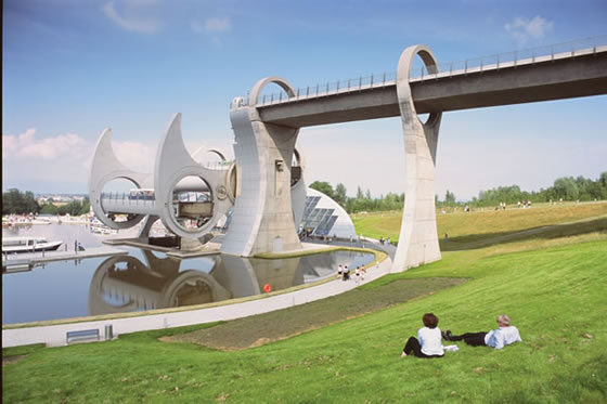 The Falkirk Wheel, a rotating canal boat lift in Scotland